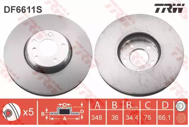 Brake Discs DF6611S TRW DF6611S original quality