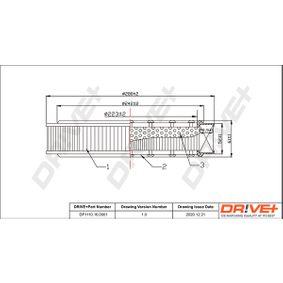 Luftfilter Höhe: 62,0mm mit OEM-Nummer 032129620