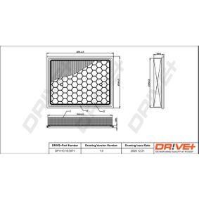 Luftfilter Länge: 325,0mm, Breite: 252mm, Höhe: 51,0mm, Länge: 325,0mm mit OEM-Nummer 835631