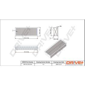 Luftfilter Länge: 342,0mm, Breite: 135mm, Höhe: 70,0mm, Länge: 342,0mm mit OEM-Nummer 1K0129620F