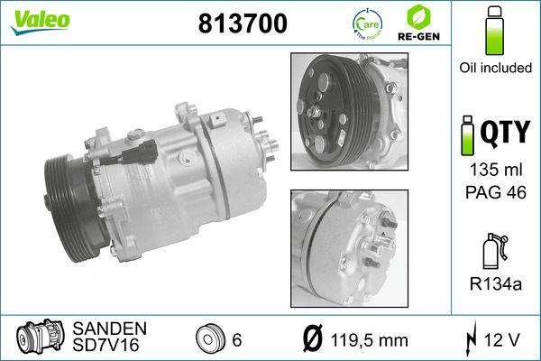 Kompressor, Klimaanlage 813700 VALEO SD7V16 in Original Qualität