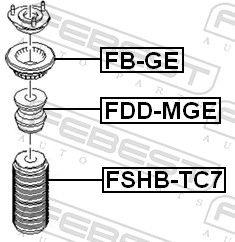 Almohadilla de tope, suspensión FEBEST FDD-MGE evaluación
