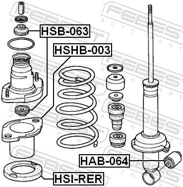 Tubo distanciador, amortiguador FEBEST HSB-063 evaluación