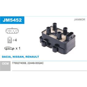 Renault Twingo 2 1.2 Turbo (CN0C, CN0F) Zündspule JANMOR JM5452 (1.2 Turbo (CN0C, CN0F) Benzin 2021 D4F 782)