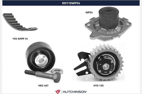 HUTCHINSON  KH 118WP54 Water pump and timing belt kit