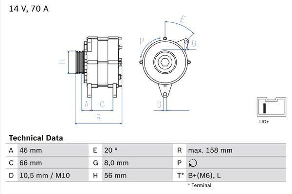 Lichtmaschine 0 986 036 851 BOSCH 3685 in Original Qualität