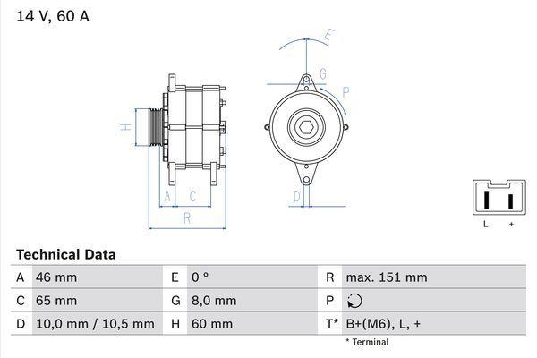 Lichtmaschine 0 986 038 851 BOSCH 3885 in Original Qualität