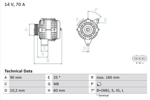 Lichtmaschine 0 986 040 461 BOSCH 4046 in Original Qualität