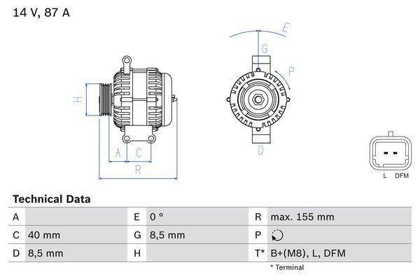 Lichtmaschine 0 986 042 720 BOSCH 4272 in Original Qualität