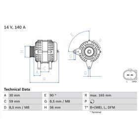 Lichtmaschine VW PASSAT Variant (3B6) 1.9 TDI 130 PS ab 11.2000 BOSCH Generator (0 986 044 460) für