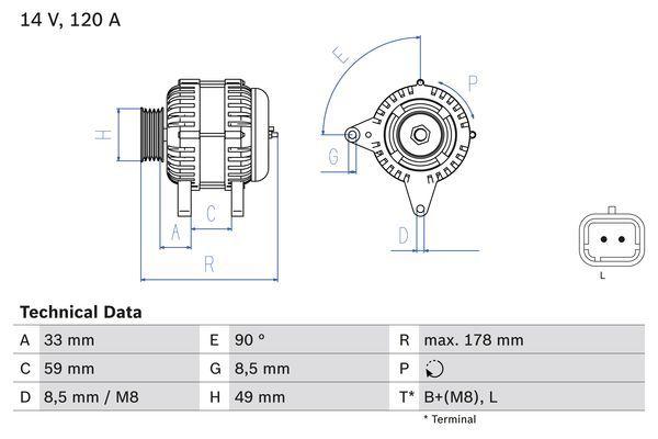 Lichtmaschine 0 986 045 241 BOSCH 4524 in Original Qualität