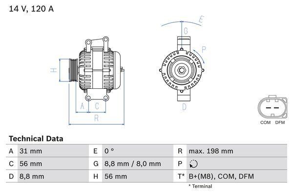 Lichtmaschine 0 986 045 380 BOSCH 4538 in Original Qualität