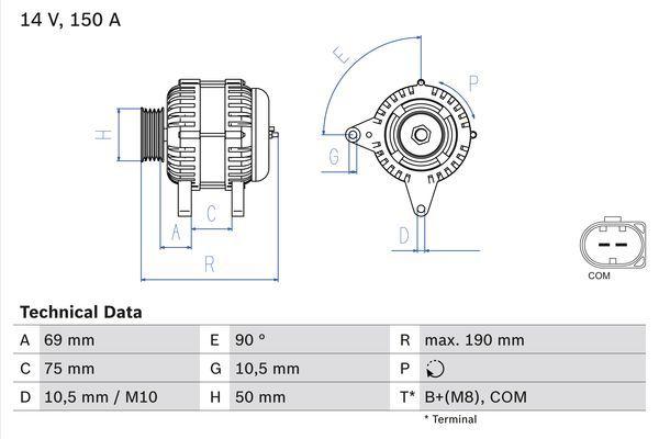 Lichtmaschine 0 986 046 220 BOSCH 4622 in Original Qualität
