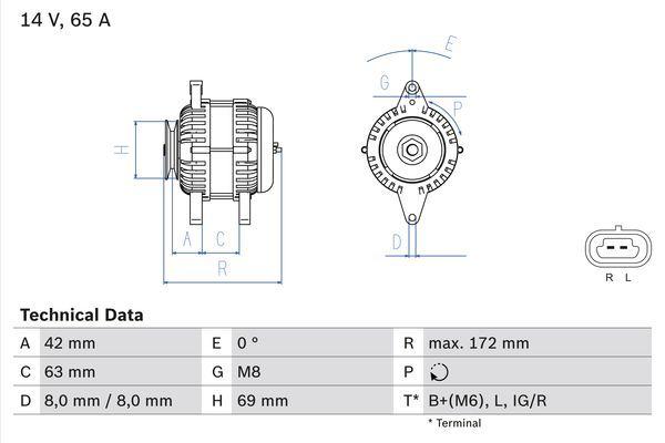 Lichtmaschine 0 986 049 051 BOSCH 4905 in Original Qualität