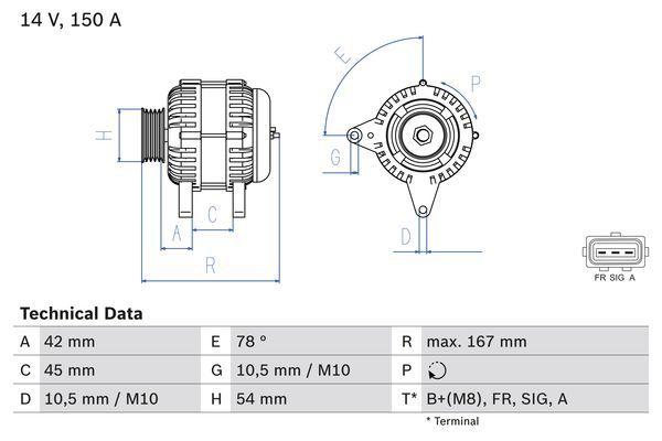 Lichtmaschine 0 986 049 071 BOSCH 4907 in Original Qualität