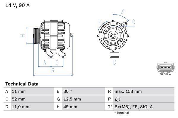 Lichtmaschine 0 986 049 121 BOSCH 4912 in Original Qualität