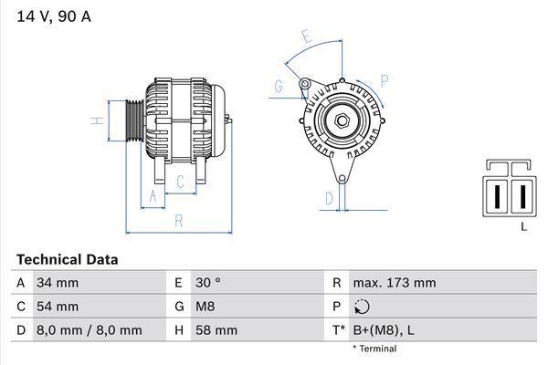 Lichtmaschine 0 986 049 191 BOSCH 4919 in Original Qualität