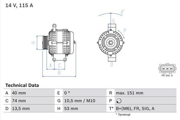 Lichtmaschine 0 986 049 460 BOSCH 4946 in Original Qualität