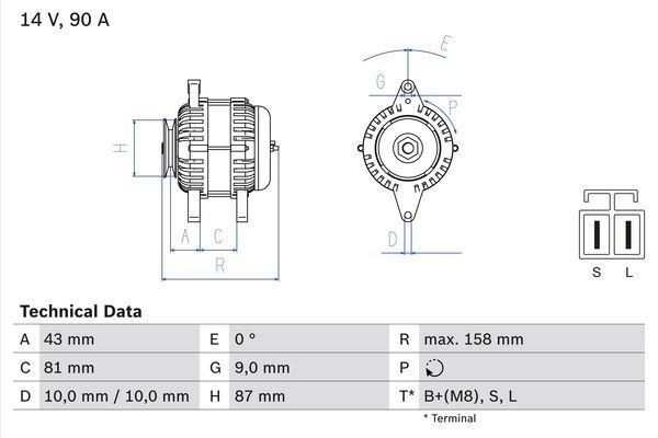 Lichtmaschine 0 986 080 430 BOSCH 8043 in Original Qualität