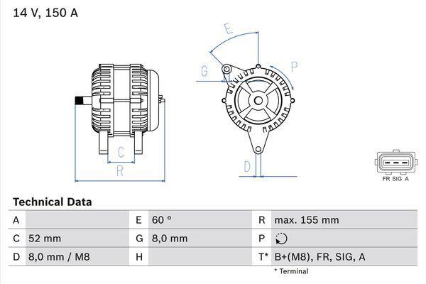 Lichtmaschine 0 986 081 140 BOSCH 8114 in Original Qualität