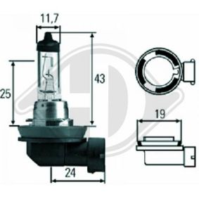 Bulb, spotlight H8, 35W, 12V LID10034