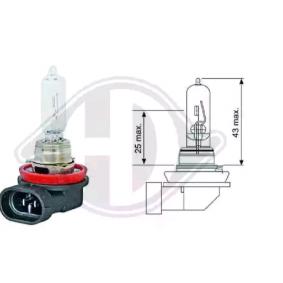 Крушка с нагреваема жичка, фар за дълги светлини H9, 65ват, 12волт LID10035