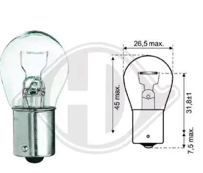 Glühlampe, Blinkleuchte LID10047 DIEDERICHS P21W in Original Qualität