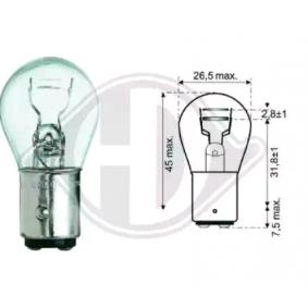 Крушка с нагреваема жичка, стоп светлини / габарити P21/5W, 12волт, Bay15d, 5ват, 21ват LID10050 VW GOLF, PASSAT, POLO