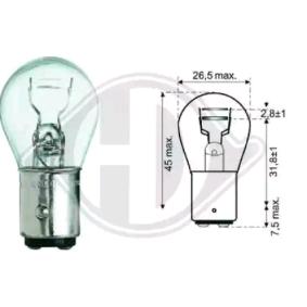 Glühlampe, Brems- / Schlusslicht P21/5W, 12V, Bay15d, 5W, 21W LID10050