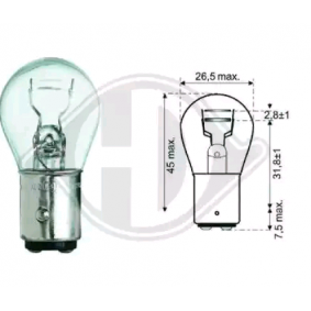 Glühlampe, Brems- / Schlusslicht P21/5W, 12V, Bay15d, 5W, 21W LID10050 VW GOLF, PASSAT, POLO