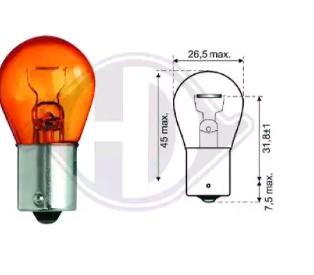 Bulb, indicator LID10054 DIEDERICHS PY21W original quality