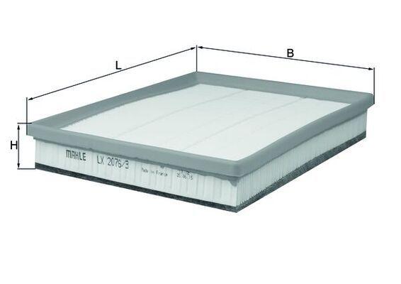 MAHLE ORIGINAL  LX 2076/3 Luftfilter Breite: 219mm, Höhe: 46mm, Länge über Alles: 268,0mm