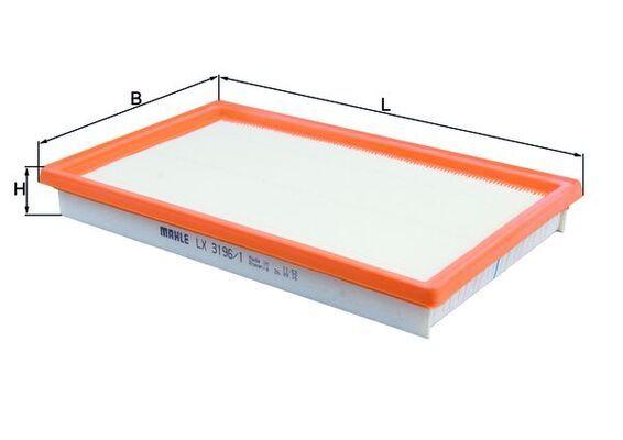 MAHLE ORIGINAL  LX 3196/1 Légszűrő Szélesség: 168,0mm, Magasság: 32,5mm, teljes hossz: 281,0mm