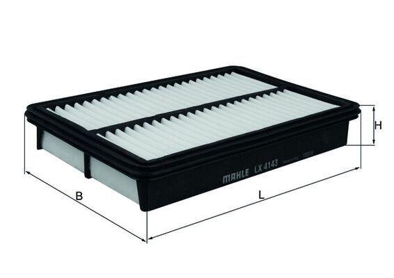 MAHLE ORIGINAL  LX 4143 Filtro de aire Ancho: 180,0mm, Altura: 41,5mm, Long. total: 270,0mm