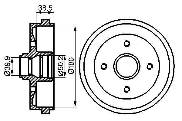 BOSCH  0 986 477 002 Bremstrommel Br.Tr.Durchmesser außen: 211mm