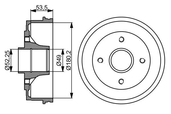BOSCH  0 986 477 061 Bremstrommel Br.Tr.Durchmesser außen: 207,8mm
