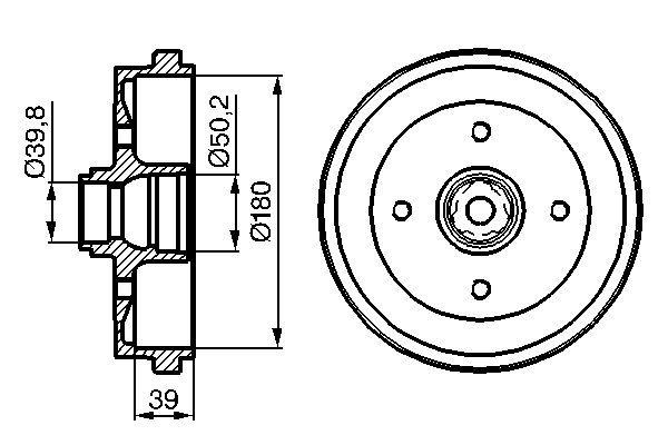 BOSCH  0 986 477 111 Bremstrommel Br.Tr.Durchmesser außen: 211mm