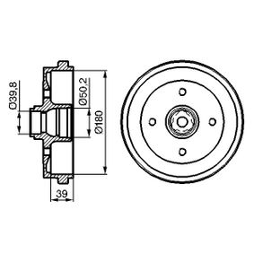 Bremstrommel Br.Tr.Durchmesser außen: 211mm mit OEM-Nummer 191.501.615B