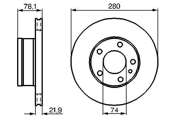 BOSCH  0 986 478 041 Bremsscheibe Bremsscheibendicke: 22mm, Lochanzahl: 5, Ø: 280mm