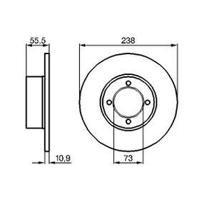Bremsscheibe Bremsscheibendicke: 11mm, Lochanzahl: 4, Ø: 238mm mit OEM-Nummer 569008