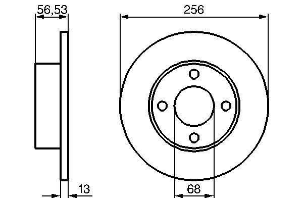 BOSCH  0 986 478 130 Bremsscheibe Bremsscheibendicke: 12,9mm, Lochanzahl: 4, Ø: 256mm
