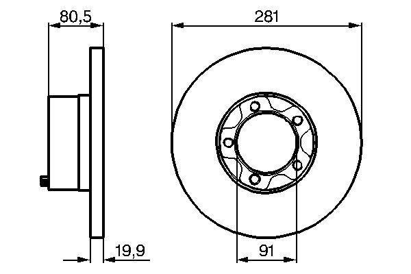 BOSCH  0 986 478 138 Bremsscheibe Bremsscheibendicke: 20mm, Lochanzahl: 4, Ø: 281mm