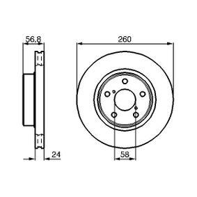 Bremsscheibe Bremsscheibendicke: 24mm, Lochanzahl: 5, Ø: 260mm mit OEM-Nummer 26300 AE040