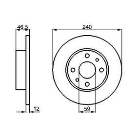 Bremsscheibe Bremsscheibendicke: 12mm, Lochanzahl: 4, Ø: 240,2mm mit OEM-Nummer 71 738 423
