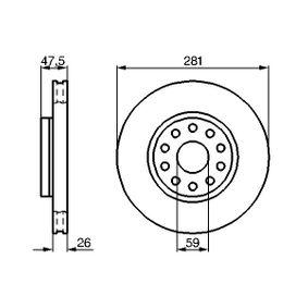 BOSCH  0 986 478 460 Bremsscheibe Bremsscheibendicke: 26mm, Lochanzahl: 10, Ø: 280,8mm