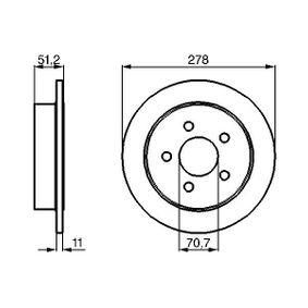 BOSCH  0 986 478 487 Bremsscheibe Bremsscheibendicke: 11mm, Lochanzahl: 5, Ø: 278mm