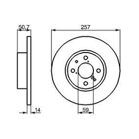 Bremsscheibe Bremsscheibendicke: 14mm, Lochanzahl: 4, Ø: 257,5mm mit OEM-Nummer 82 434 169