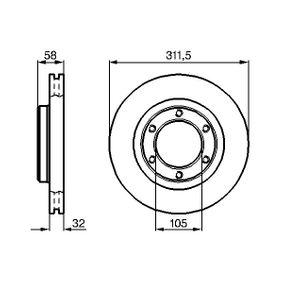 Bremsscheibe Bremsscheibendicke: 32mm, Lochanzahl: 6, Ø: 311,4mm mit OEM-Nummer 43512 60 090