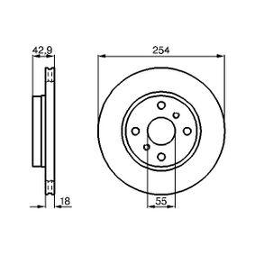 Disque de frein Epaisseur du disque de frein: 18mm, Nbre de trous: 4, Ø: 254mm avec OEM numéro 4351216130
