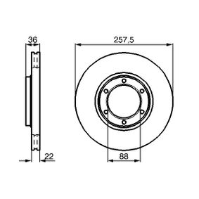 BOSCH  0 986 478 596 Bremsscheibe Bremsscheibendicke: 22mm, Lochanzahl: 6, Ø: 257,5mm